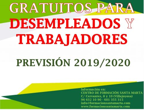 PREVISIÓN CURSOS GRATUITOS 2019/2020